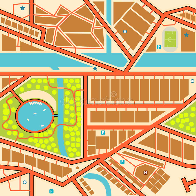 Seamless city map. Editable seamless tile of a generic city map vector illustration