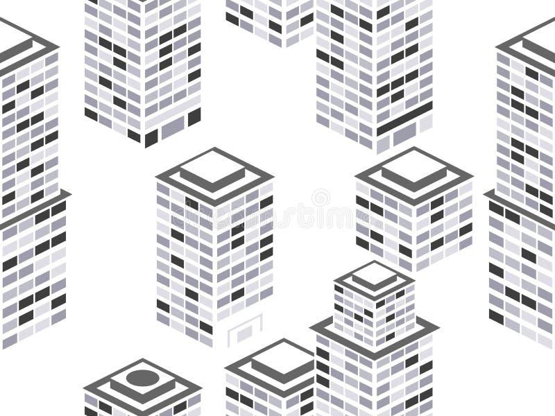 seamless cityscapemodell Isometriska stadsbyggnader, metropolis Svartvita färger vektor vektor illustrationer