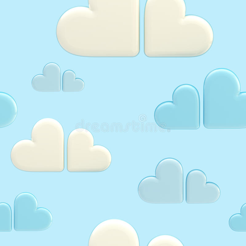 Download Seamless Cloud Background Made Of Hearts Stock Illustration - Image: 24235434