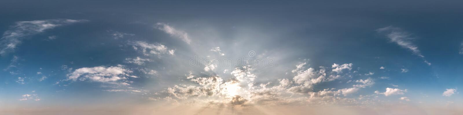 Seamless cloudy blue sky before sunset hdri panorama 360 degrees angle view with zenith and beautiful clouds for use in 3d. Graphics as sky dome or edit drone stock images