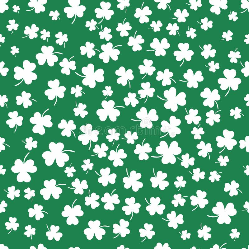 Seamless clover leaf flat design green pattern on dark green background vector illustration. White shamrocks falling like a drops of the rain stock illustration