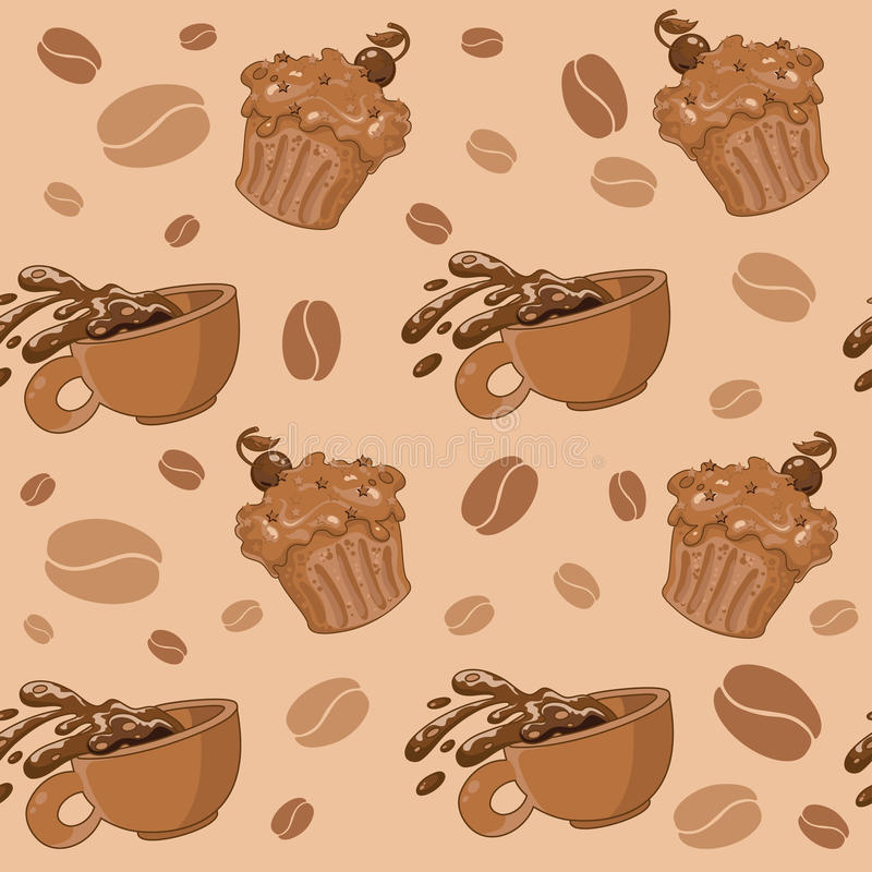 Download Seamless Coffee And Cupcakes Stock Vector - Image: 32035627