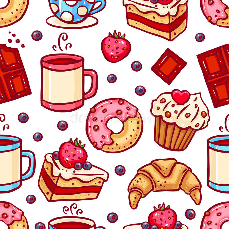 Seamless coffee and desserts icons stock illustration