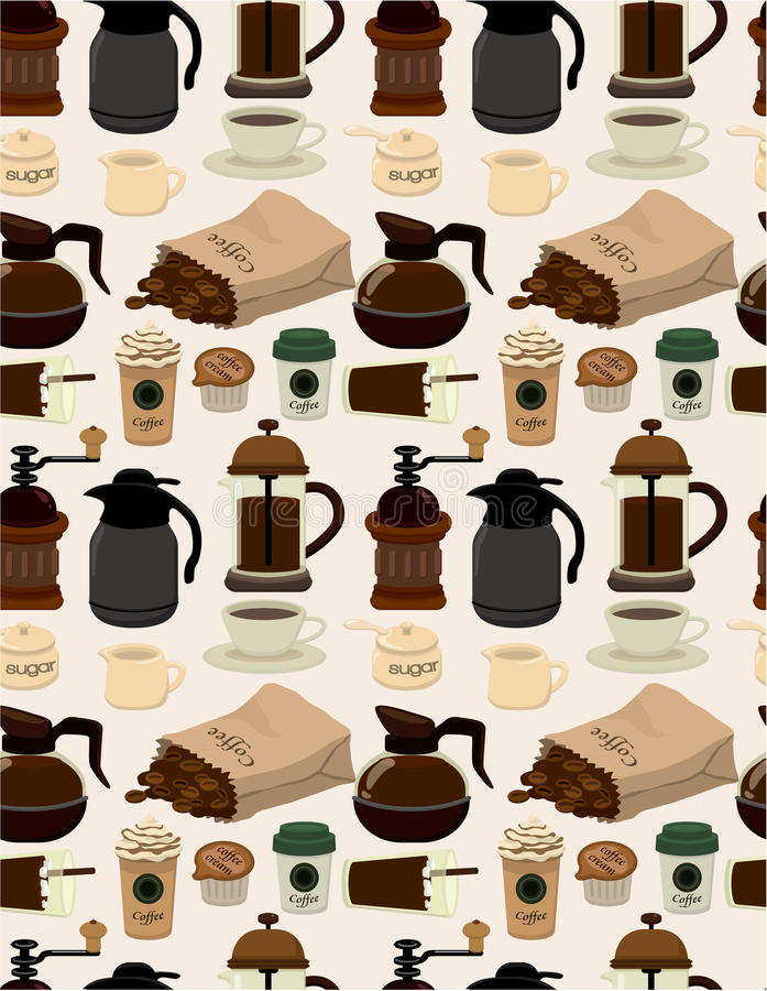 Download Seamless coffee pattern stock vector. Image of adorable - 18928748