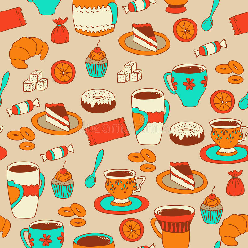 Seamless coffee and tea pattern with sweets stock illustration