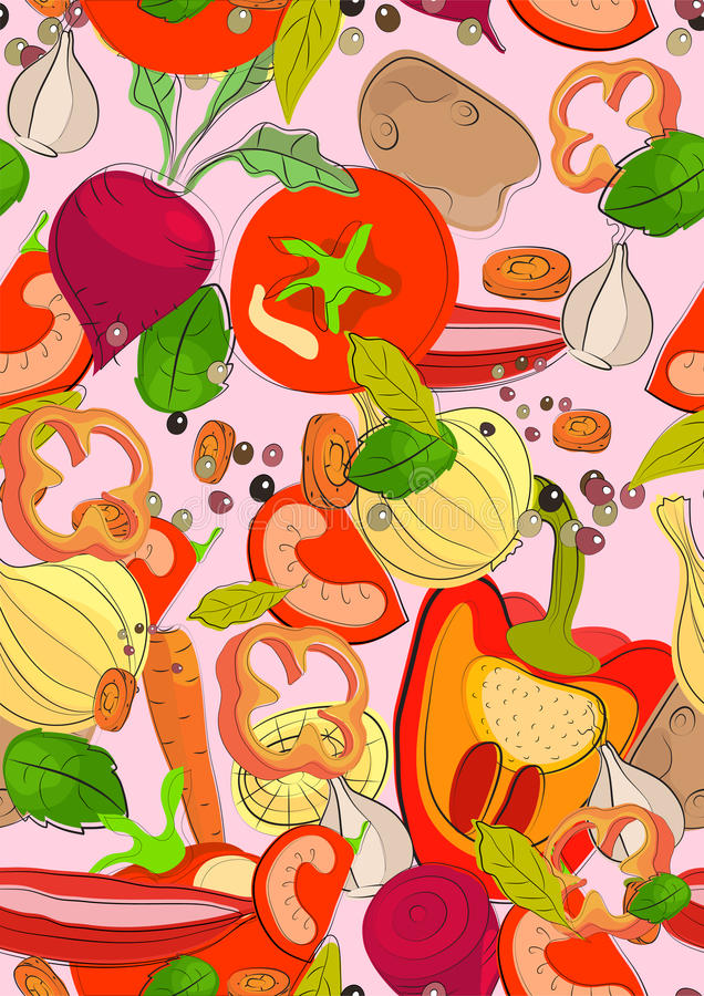 Seamless color background with vegetables