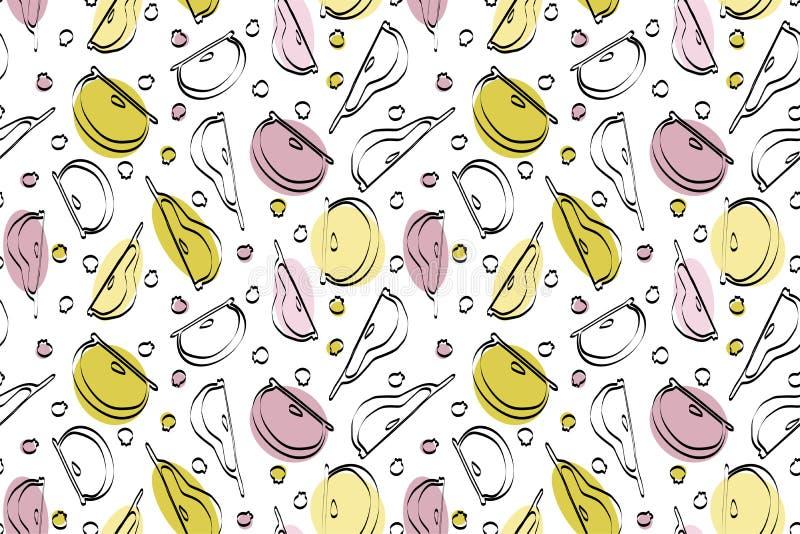 Seamless color fruit pattern stock photos