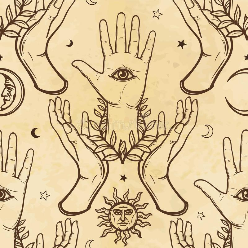 Seamless color pattern: human hands support a palm with an all-seeing eye. Esoteric, mysticism, occultism. vector illustration