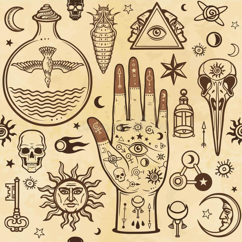 Seamless color pattern: human hands in tattoos, alchemical symbols. Esoteric, mysticism, occultism. vector illustration
