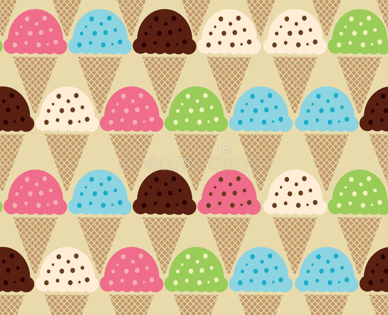 Seamless color pattern of Ice Cream Background. Ice cream waffle cones seamless pattern background in cartoon style for food design royalty free illustration