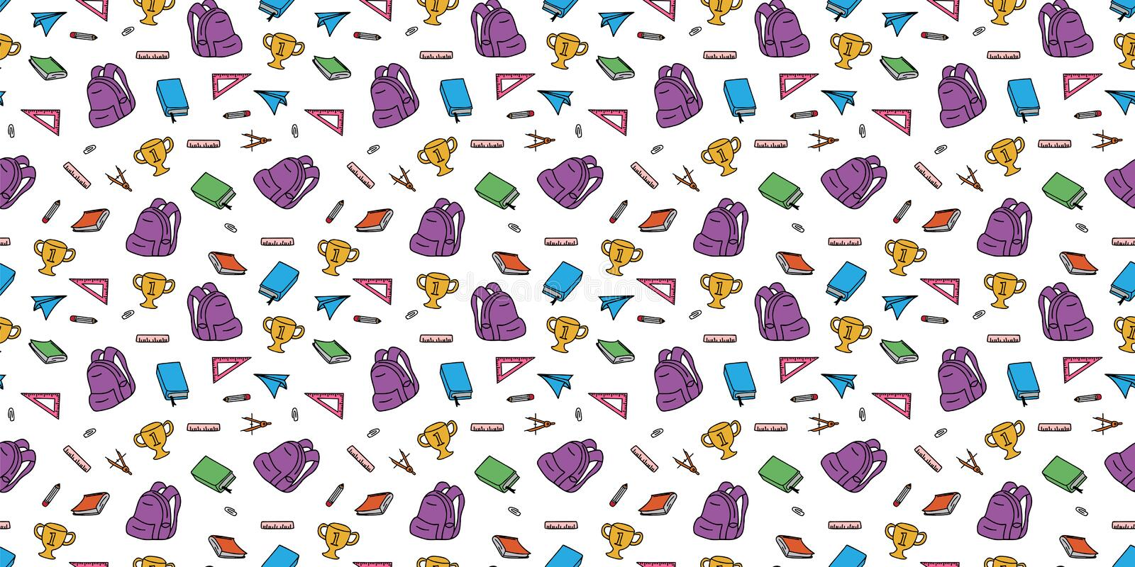 Seamless colored back to school pattern with supplies stationary and creative elements doodle drawing. Colorful fun cute vector. Illustration line background stock illustration