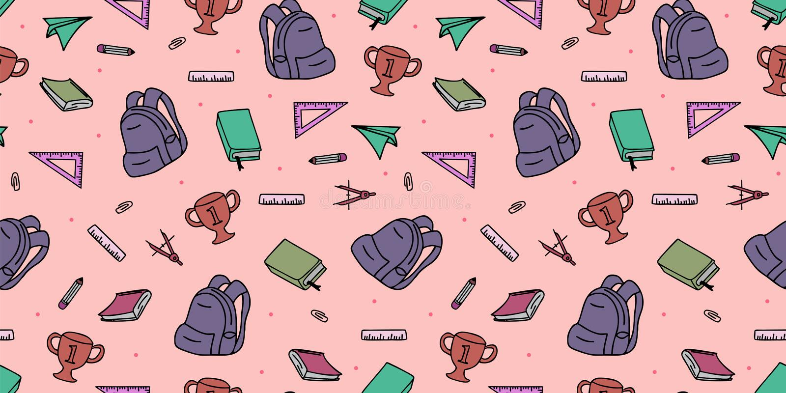Seamless colored back to school pattern with supplies stationary and creative elements doodle drawing. Colorful fun cute vector. Illustration line background royalty free illustration