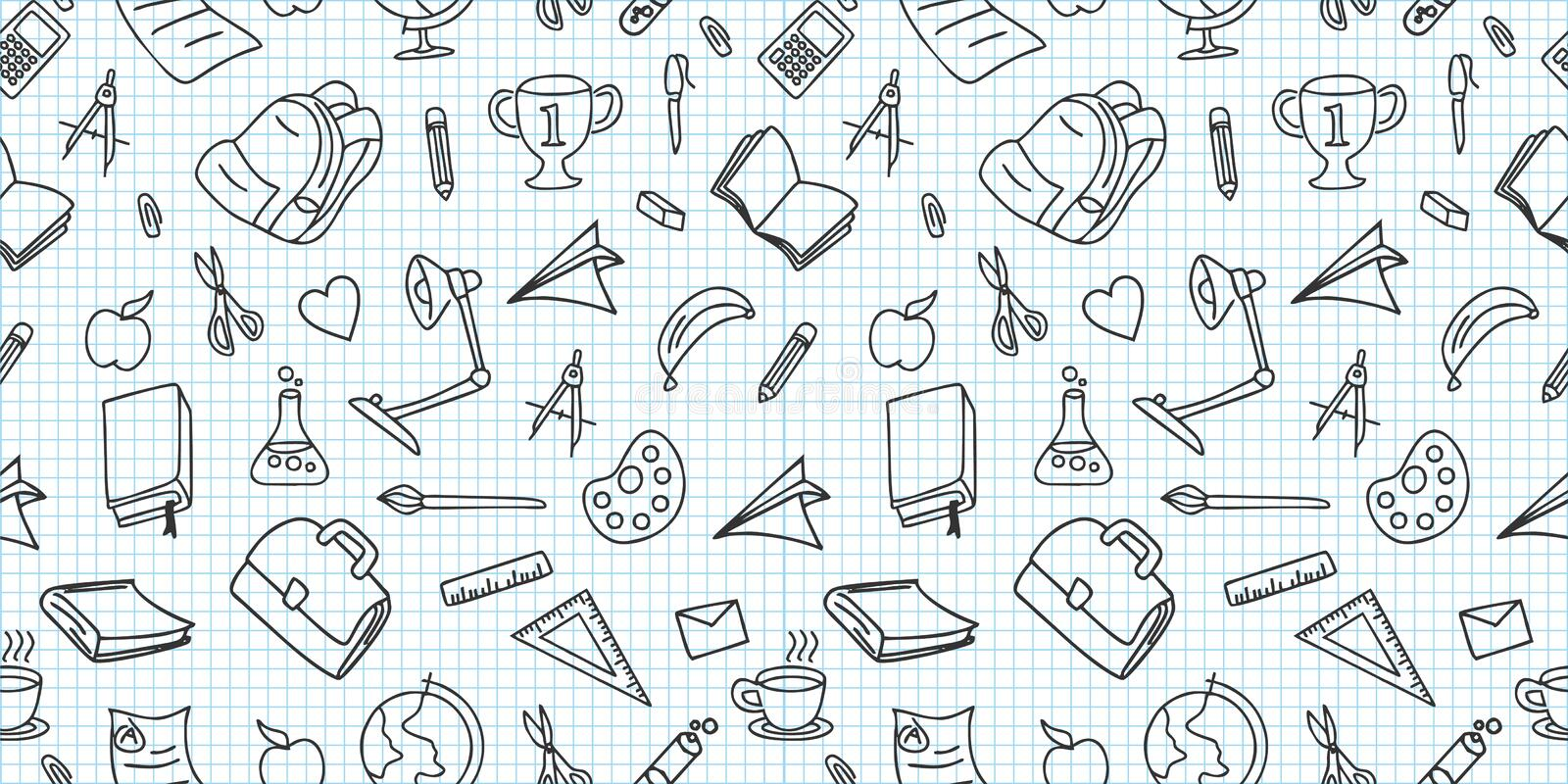 Seamless colored back to school pattern with supplies stationary and creative elements doodle drawing. Creative cute vector. Illustration black and white colors royalty free illustration