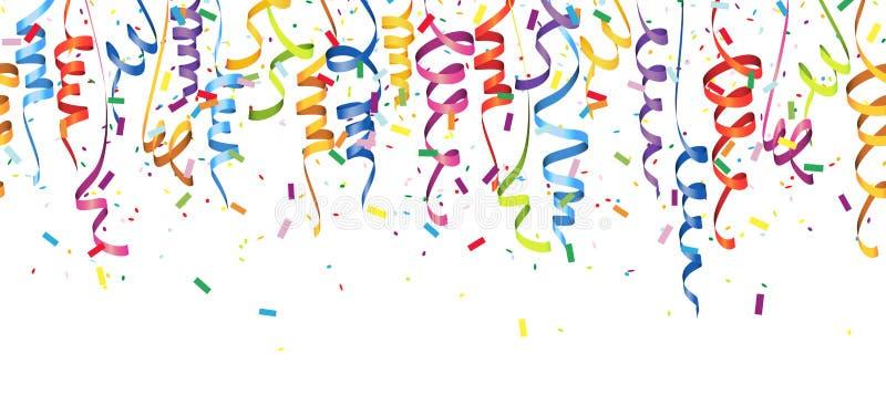 seamless colored confetti and streamers vector illustration