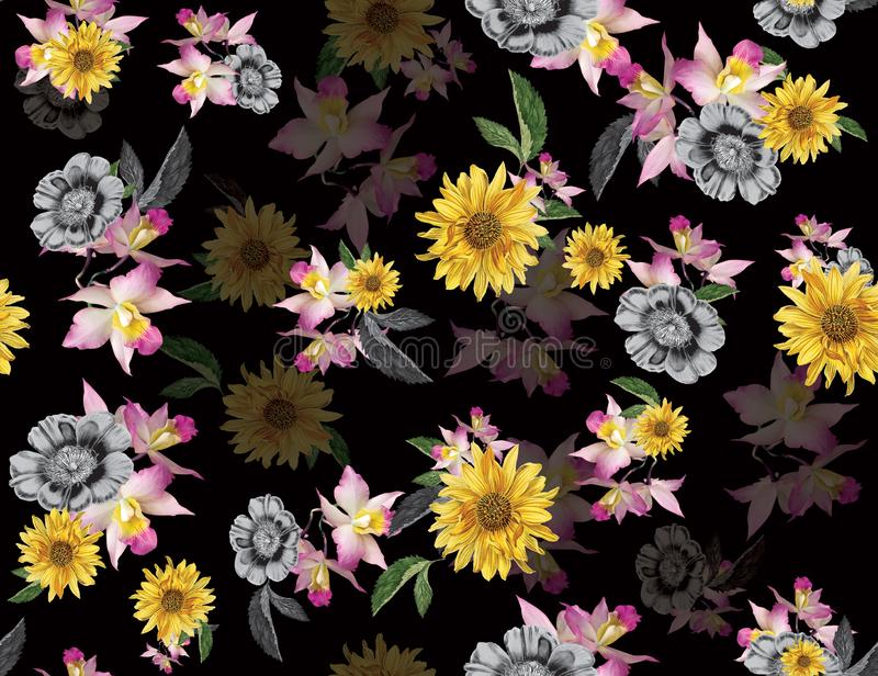 Seamless colored flowers for textile; Retro style floral arrangement, vintage style with black background. vector illustration