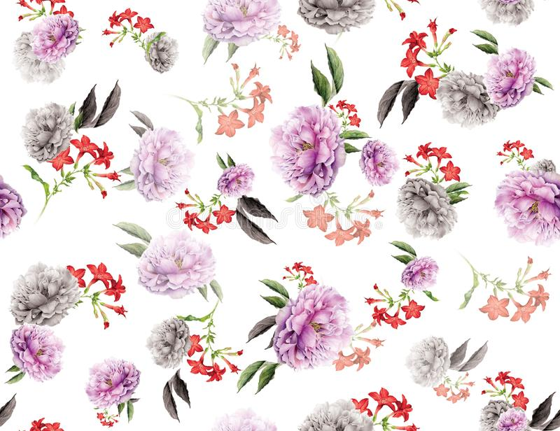 Seamless colored flowers for textile; Retro style floral arrangement, vintage style with white background. royalty free illustration