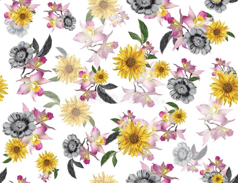 Seamless colored flowers for textile; Retro style floral arrangement, vintage style with white background. vector illustration