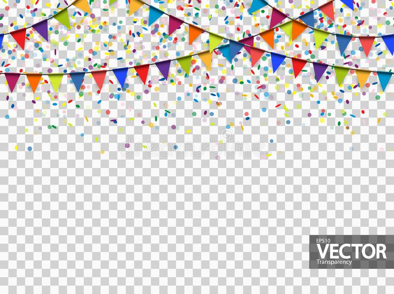 Seamless garland and confetti background with vector transparency. Seamless colored garlands and confetti background for party or festival usage with stock illustration