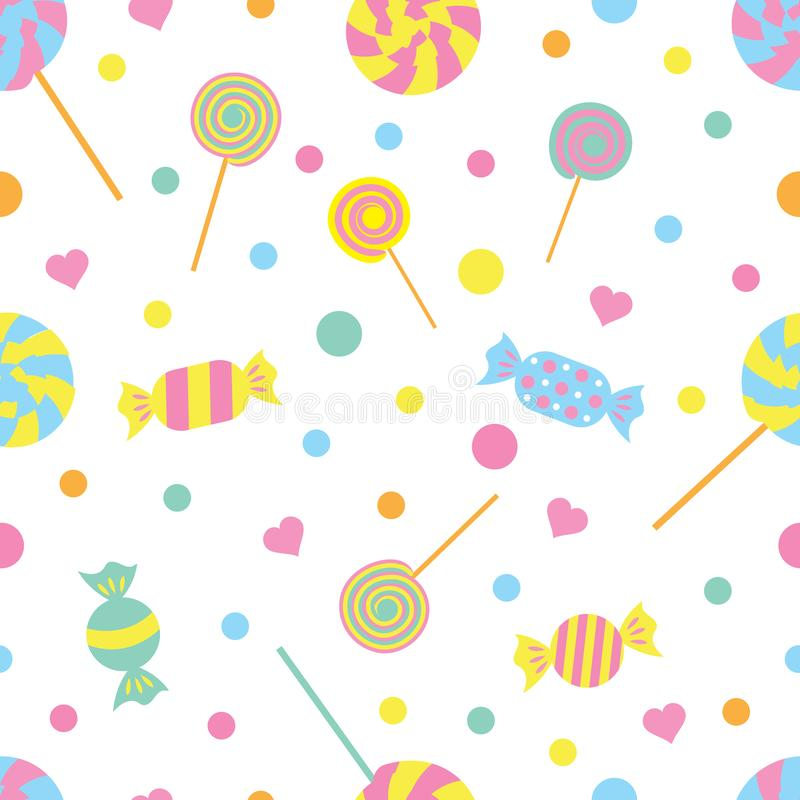 Seamless colored pattern with candies and hearts. vector illustration.  stock illustration