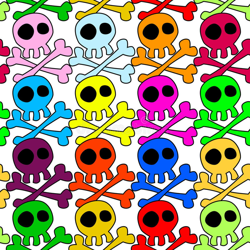 Download Seamless Colored Skulls Background Stock Photo - Image of crossed, creepy: 92044514