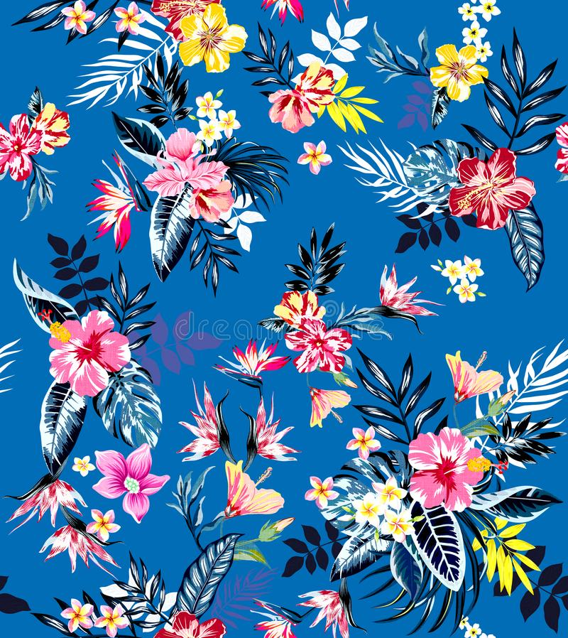 Seamless colored tropical flowers for textile; Retro Hawaiian style floral arrangement, vintage style with black background.Seamle. Seamless colored tropical royalty free illustration