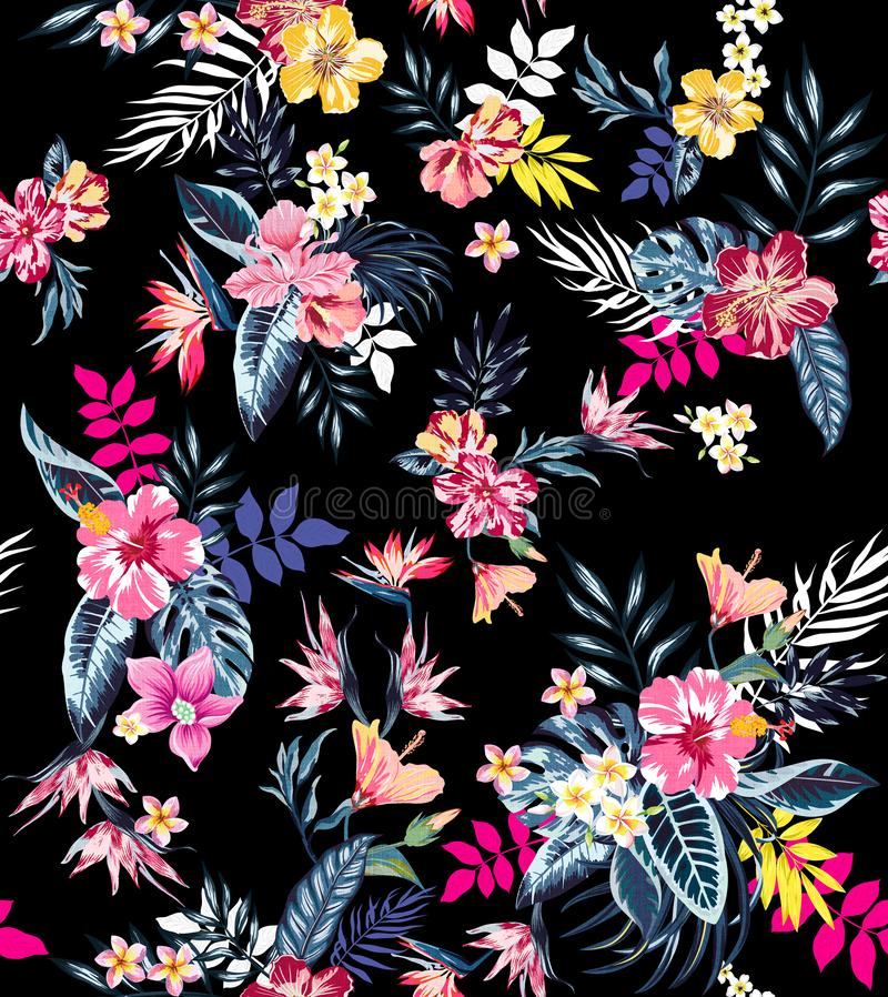 Seamless colored tropical flowers for textile; Retro Hawaiian style floral arrangement, vintage style with black background. royalty free illustration