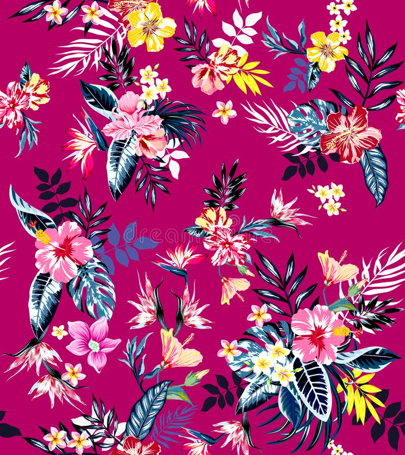 Seamless colored tropical flowers for textile; Retro Hawaiian style floral arrangement, vintage style with black pink background. royalty free illustration