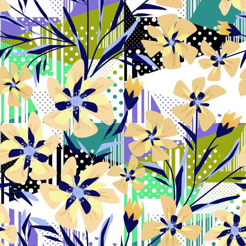 Seamless colorful abstract floral patterned background with stripes and polka dots. vector illustration