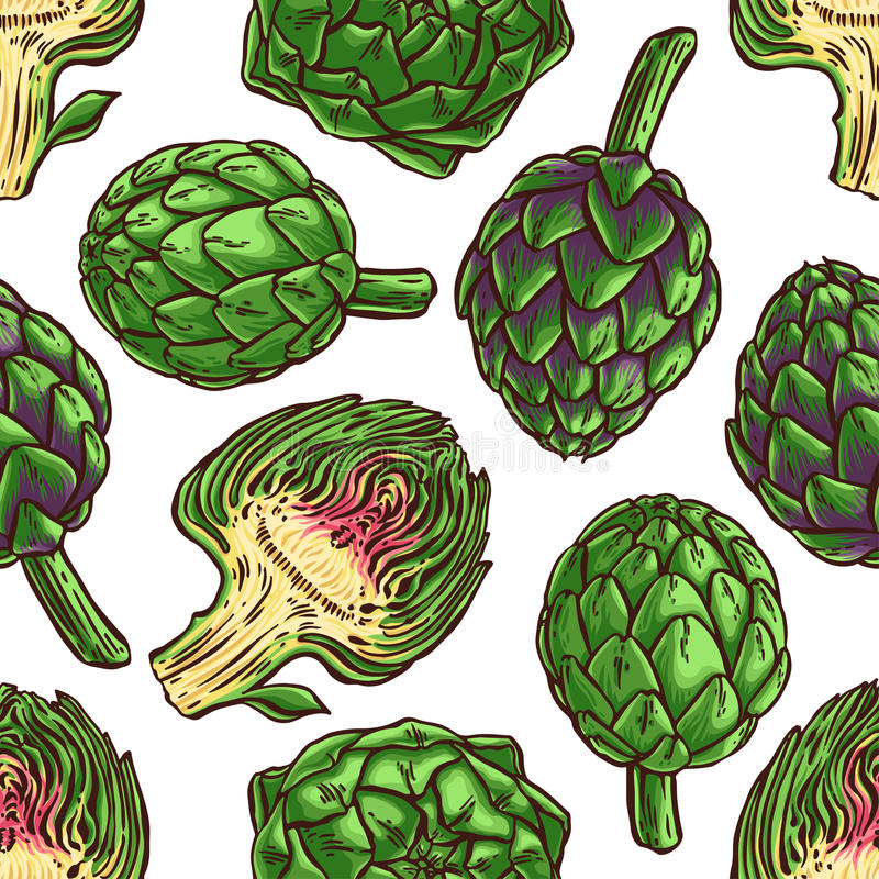 Seamless colorful artichokes royalty free illustration