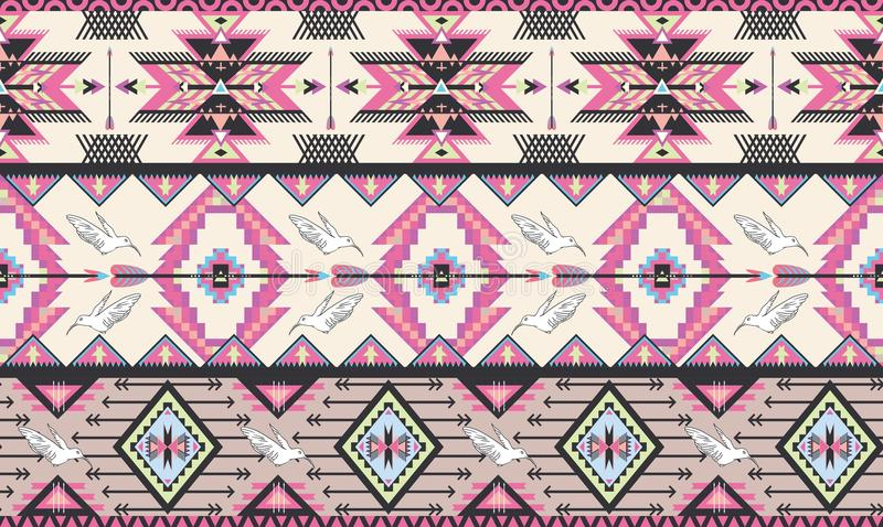 Seamless colorful aztec pattern with birds and arr vector illustration