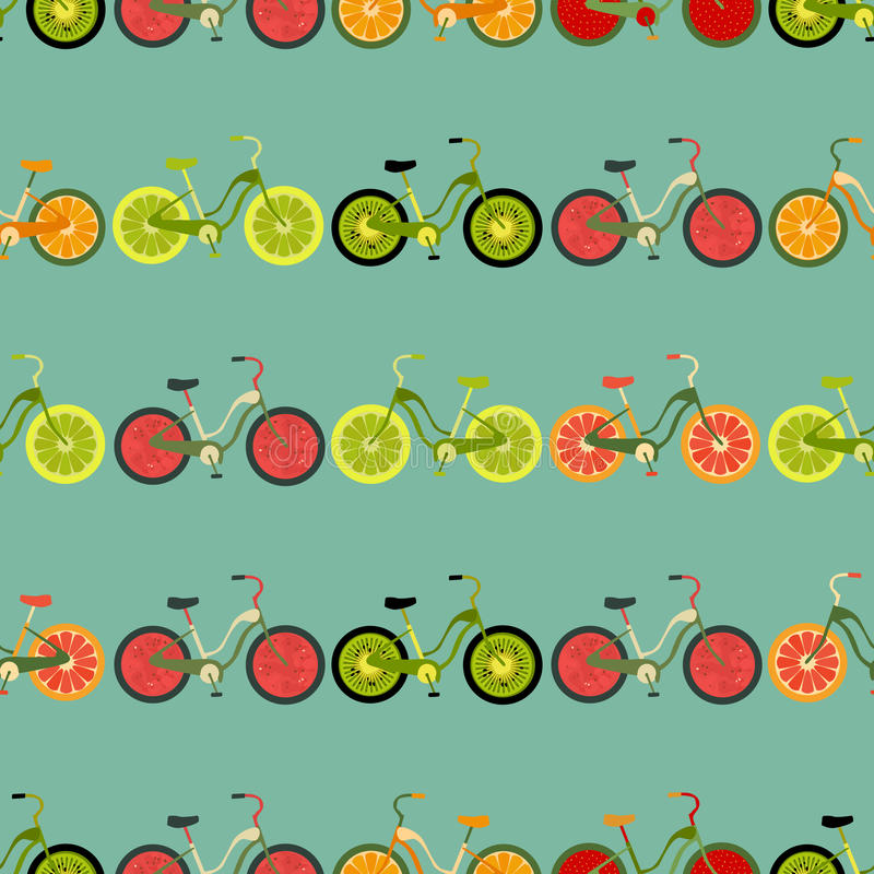 Seamless colorful background made of bikes with fruit wheels. Vector royalty free illustration