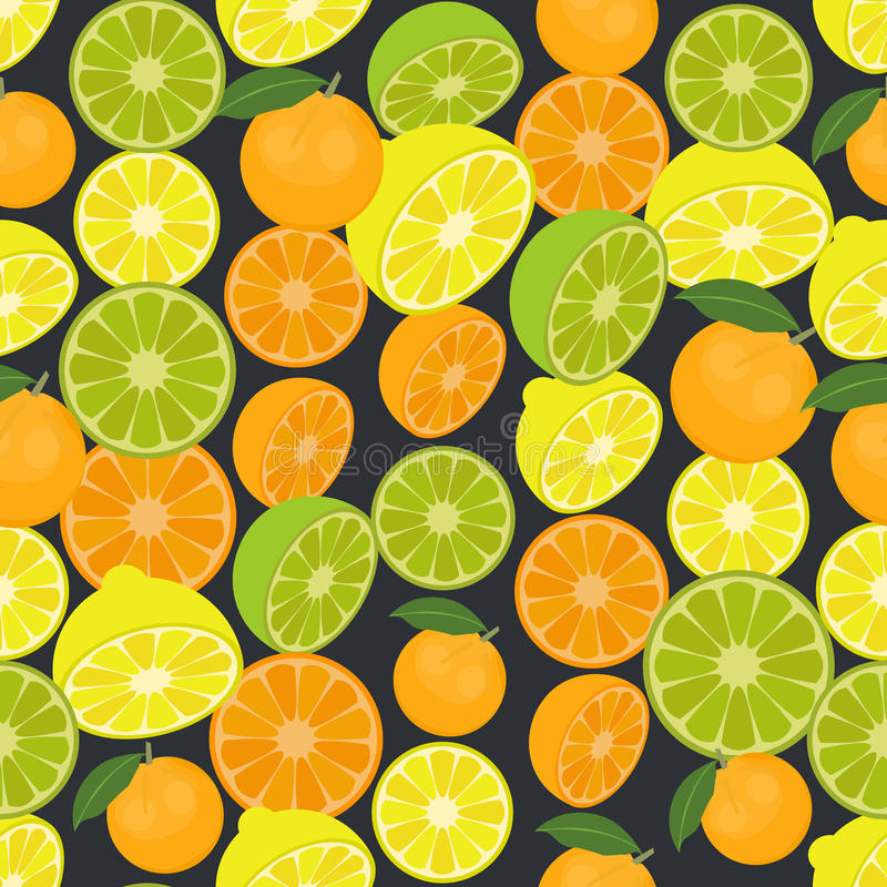 Seamless colorful background made of citrus fruits in flat design. Vector royalty free illustration