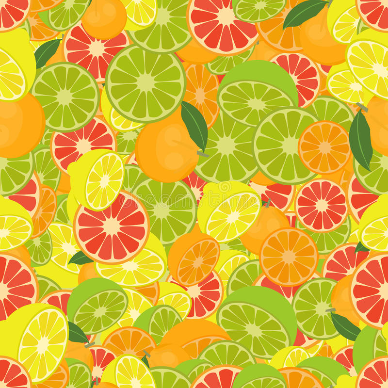 Seamless colorful background made of citrus fruits. Vector stock illustration