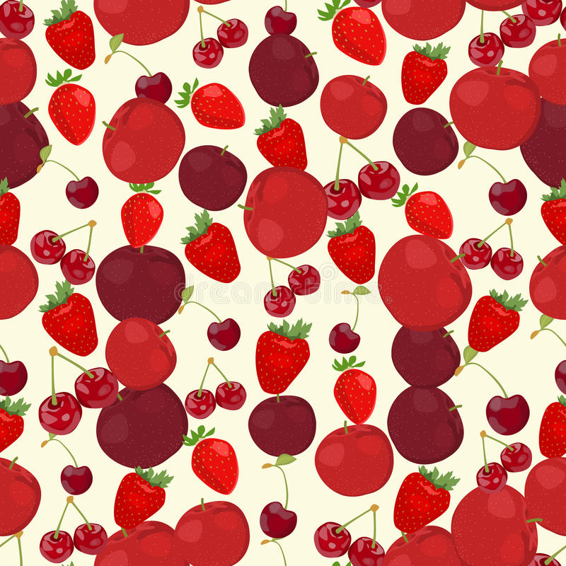 Seamless colorful background made of red apple, cherry and straw. Berry in flat design, vector vector illustration