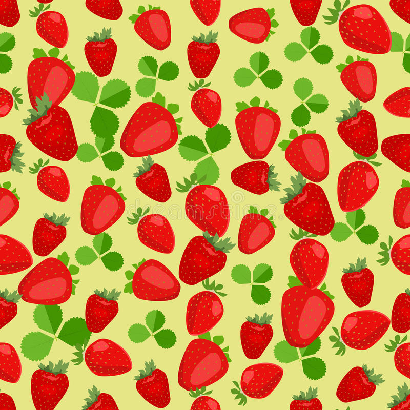 Seamless colorful background made of strawberry and leaves in fl. At design, vector vector illustration