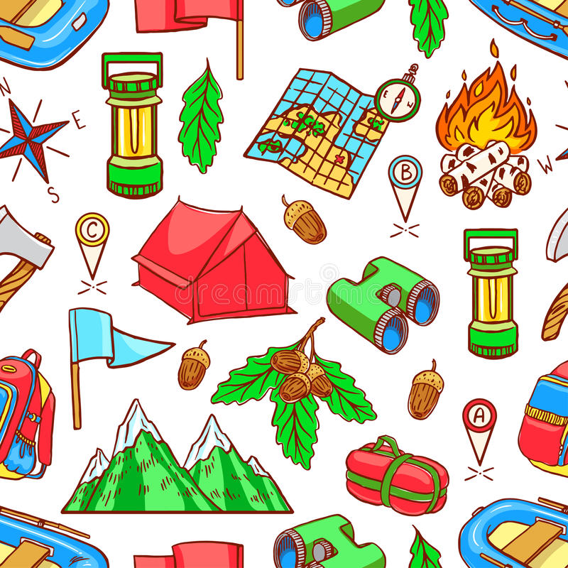 Seamless colorful camping equipments royalty free illustration
