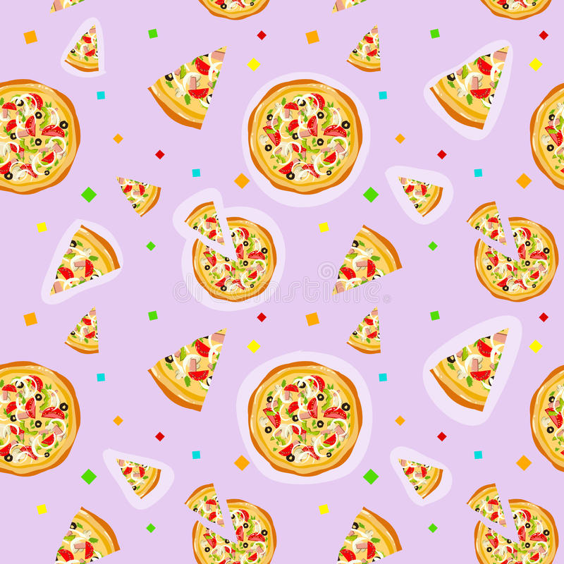 Seamless colorful cartoon pizza texture. With confetti vector illustration