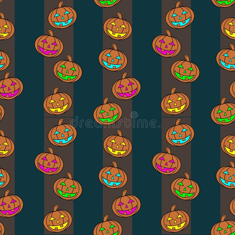 Seamless Colorful Carved Pumpkins Lanterns With Different Light Colors On Vertical Striped Background. stock illustration