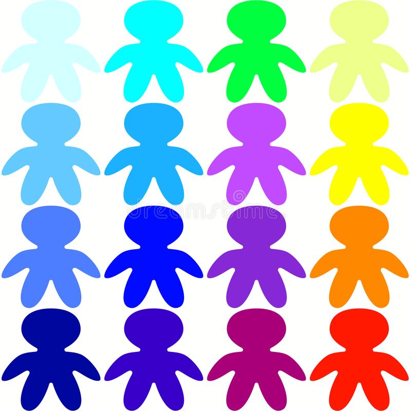 Seamless colorful children holding hands royalty free illustration