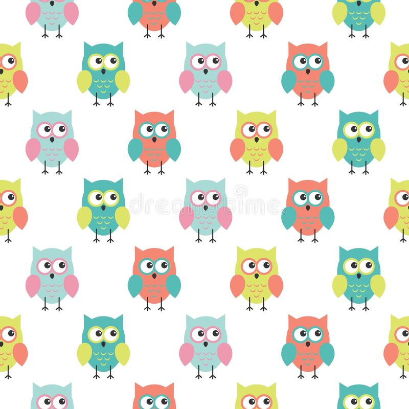 Seamless colorful cute owl background pattern for kids in vector. Kawaii style vector illustration