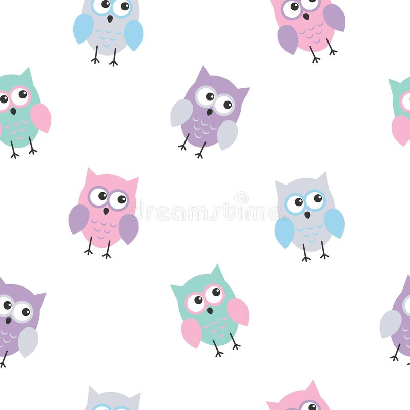 Seamless colorful cute owl background pattern for kids in vector. Kawaii style stock illustration