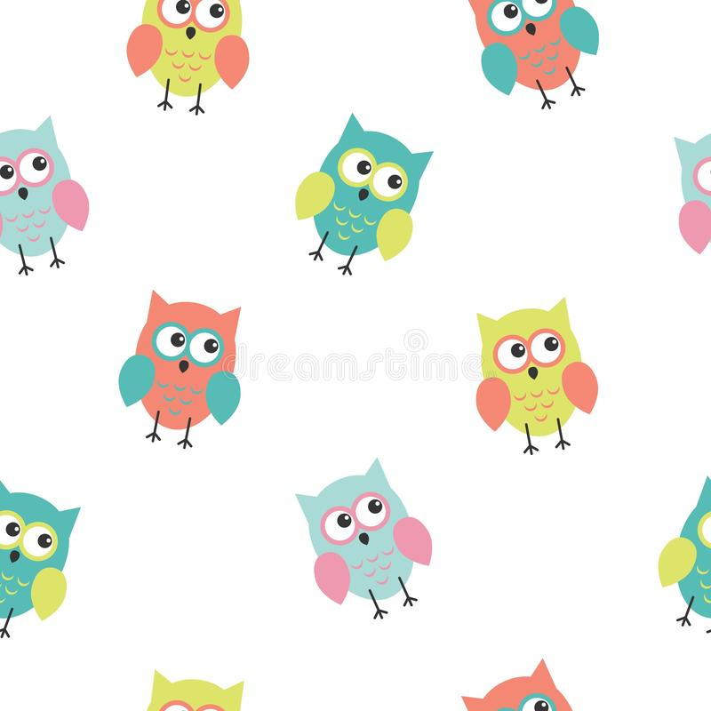 Seamless colorful cute owl background pattern for kids in vector. Kawaii style royalty free illustration