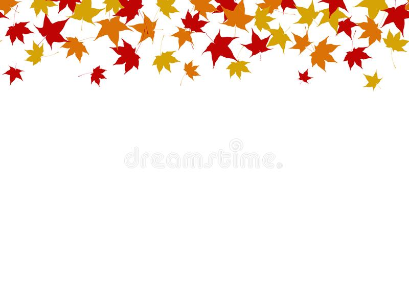 Seamless colorful fall autumn leaves border. Vector illustration stock illustration