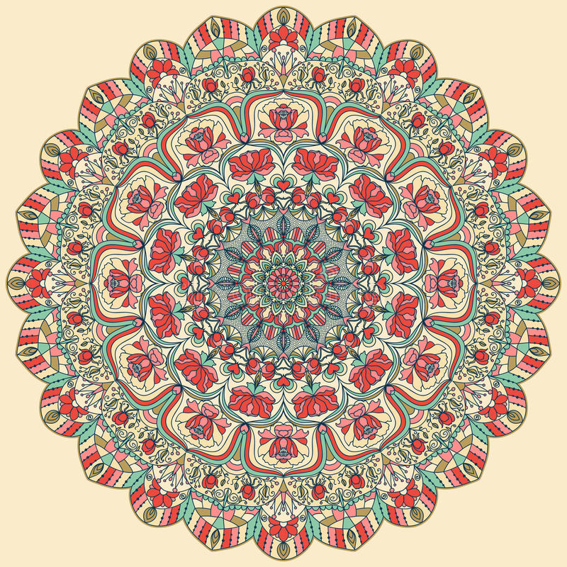 Seamless colorful floral hand drawn pattern with mandala. Round ornament in retro colors. Traditional Oriental pattern, vector illustration vector illustration
