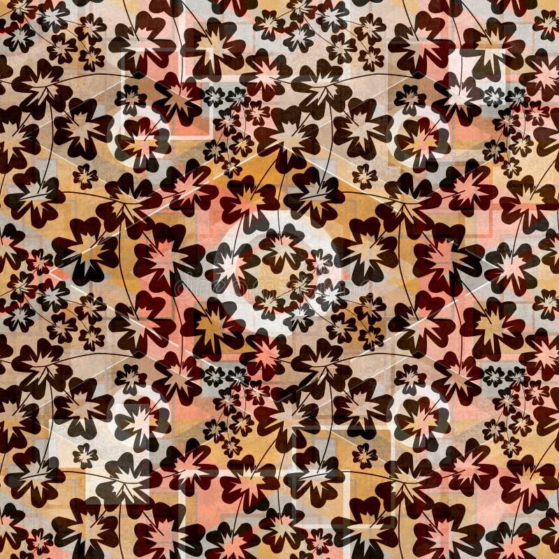 Seamless colorful flower pattern . Black twigs on a bright background. Stylish pattern stock illustration