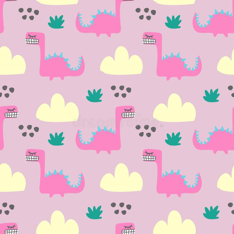 Seamless colorful fun monster animal pattern for children textile print royalty free illustration