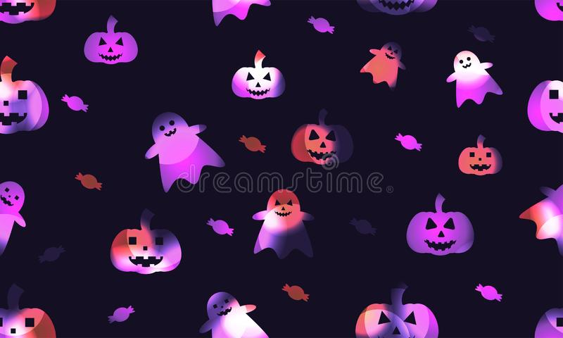 Seamless colorful halloween. Ghost with pumpkin and candy colorful on dark background vector illustration