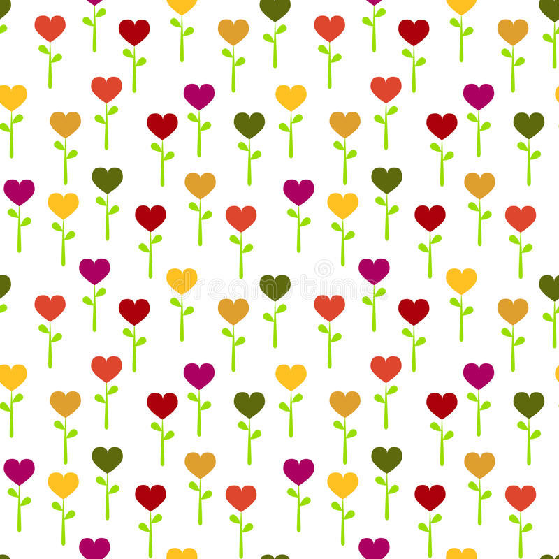 Seamless colorful Heart flowers. Colorful colored heart flowers background. Seamless Tile stock illustration