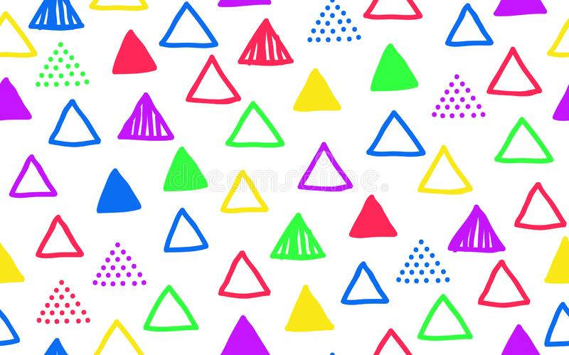 Seamless colorful imperfect doodle triangle pattern stock illustration