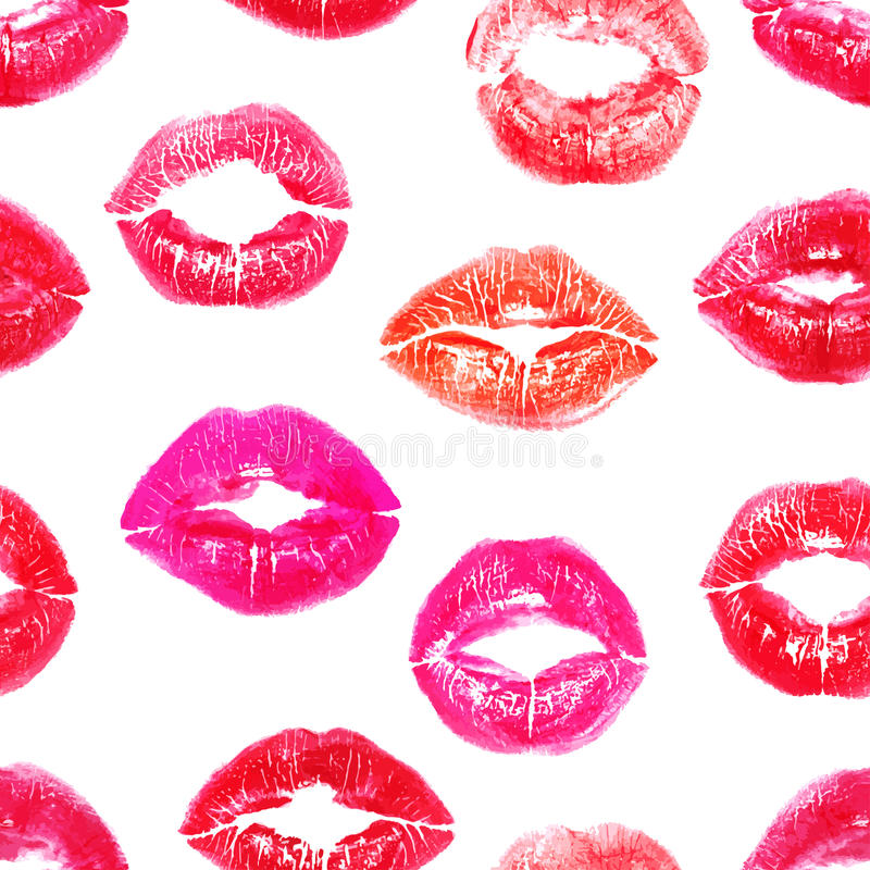 Seamless colorful lips prints vector illustration